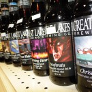 closeup of a few labels of Great Lakes Beers