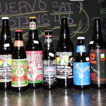 lineup of some featured seasonal christmas beers