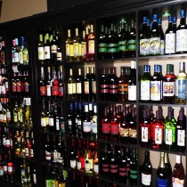 wine displays on shelves
