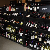 selection of Italian wines in the wine cellar