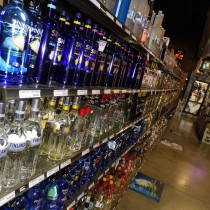 another view of some of the rows of vodka shelves
