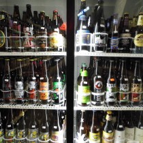 close-up of one of the beer coolers full with craft beer