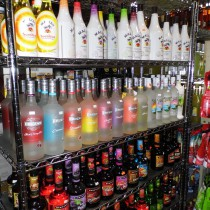 row of flavored rum liquors